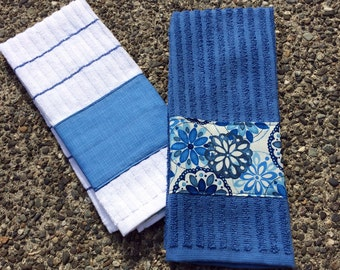 Kitchen Towel Hand Towel Set of Two (2) with Blue Batiq (Batik) Flower Print on White, Personalization Available