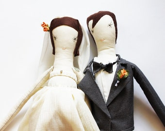 Custom Bride and Groom Ragdolls:  Personalised Wedding dolls, Mr and Mrs, Handmade from Vintage and Recycled Materials