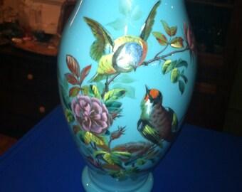 Vintage antique blue Handpainted hand blown glass pair birds vase  free shipping
