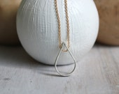 Delicate Multi Metal Teardrop Necklace