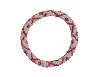 Simmering Red and White Crocheted Beaded Bracelet, Seed Beads,Nepal,PB107