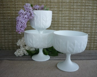 Set of 3 Vintage Milk Glass Planters, Vintage Wedding Decor, Shabby Chic