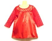 Red Top - Illusion Top - Lace Top - Satin Top - Size 10 - Size 8 - By Rebeccas Clothes