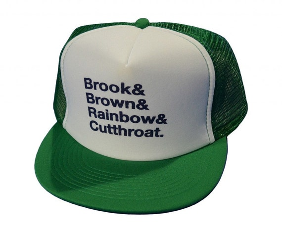 Items similar to trout names fly fishing trucker hat on etsy for Trout fishing hat