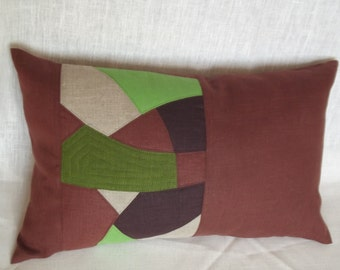 "Decorative throw pillow cover natural linen cushion patchwork quilt 12"" x 20""rustic style home"