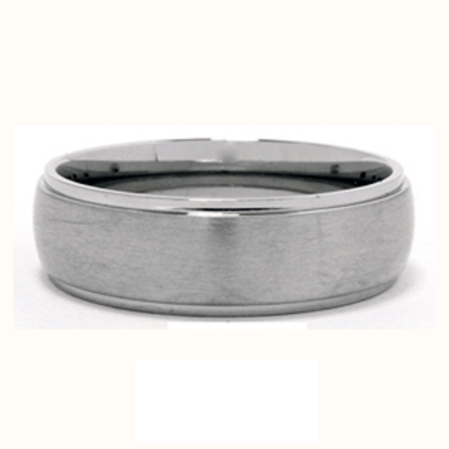 Stainless Steel Tri-Band Brushed Dome Comfort Fit Name Ring 8mm