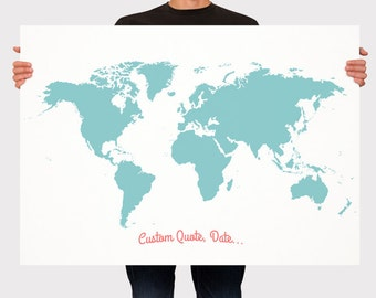 Wedding Guest Book World Map - Custom Color - Add Quote, Date - Signage - Wedding Decor - Personalized Guest Book Map - Large - Medium Size
