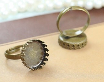 10PCS Antique bronze 15mm round Crown-Edged Bezel Cup Adjustable Cabochon Ring Mountings- W05598