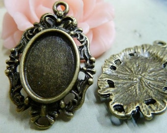 10PCS Antique bronze 14x10mm oval lace Bezel Cup Cabochon mountings pendant tray- Wd164