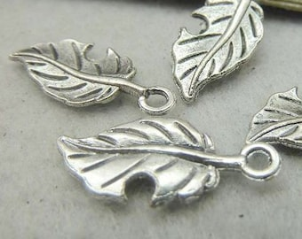 50PCS antique silver 10x22mm leaf charm pendant- XC6004
