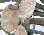 Ceramic Egg Ornaments Pink White Ceramic  Winter Home Decoration Gift Set of 3