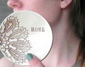 Personalized Ceramic Dish  Lace Round Flower Plate Ring Holder