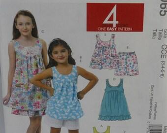 McCalls M6065, Childs or Girls Top, Dresses, Shorts, and  Capri  Pants, Uncut