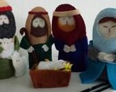 Set of Felt Finger Puppets Nativity Scene -
