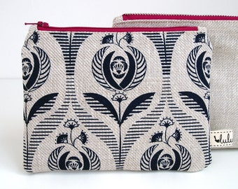 Small makeup bag, zipper pouch with Art Deco rose print