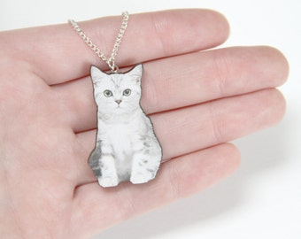 White Kitten Wooden Laser Cut Necklace
