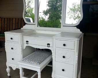 AVAILABLE TO ORDER Vintage Vanity Dressing Table Mirror Bench Dresser  Painted Furniture