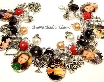 Gone with The Wind Charm Bracelet, Picture Charm Bracelet, Photo Charm Bracelet, Literary Charm Bracelet, Book Lovers Charm Bracelet