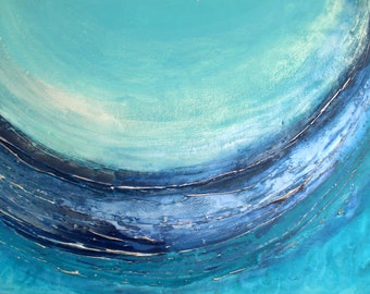 XL Seascape Art - Original Wave Artwork by Caroline Ashwood - contemporary modern painting on canvas - Ready to Hang