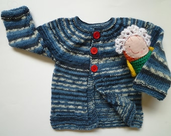 Hand knitted baby boy sweater, baby boy cardigan, Christmas gift for babies