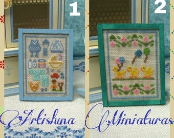 Cross stitch pictures with nursery motifs, cross stitch picture miniature handmade, nursery ornament room -  Dollhouses Miniature scale 1:12