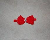 Valentine Bow Headband with Rhinestone heart center