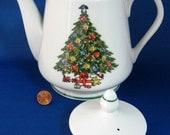 Teapot Christmas Tree Large 1970s Porcelain Tea Pot Holiday Tea Pot Holiday Cheer