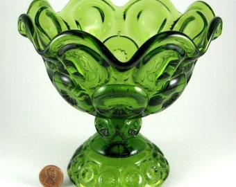 Vintage Green Moon And Stars Compote L E Smith 1960s Crimped Scalloped Rim