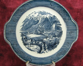 Rocky Mountains Currier And Ives Blue Transferware Cake Plate 1950s Serving