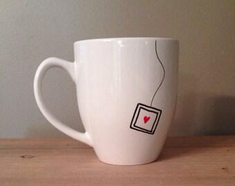 Tea lover mug, tea mug, mug for tea lover, tea bag mug, unique mug, unique coffee mug, silly mug,