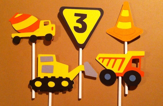 ... , Yield Sign, Pylon, Construction birthday, baby shower, first birthd