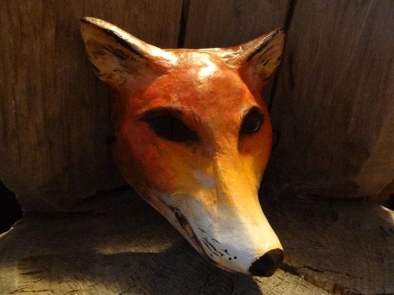 Masquerade mask Paper mache fox head mask animal mask Red fox mask