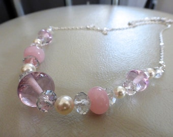 pink opal lampwork glass, crystal and Swarovski pearl necklace