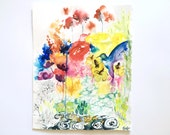 11x14  Bright Watercolor Flower Painting, Colorful Flower Blooms Illustration, Pretty Flower Art