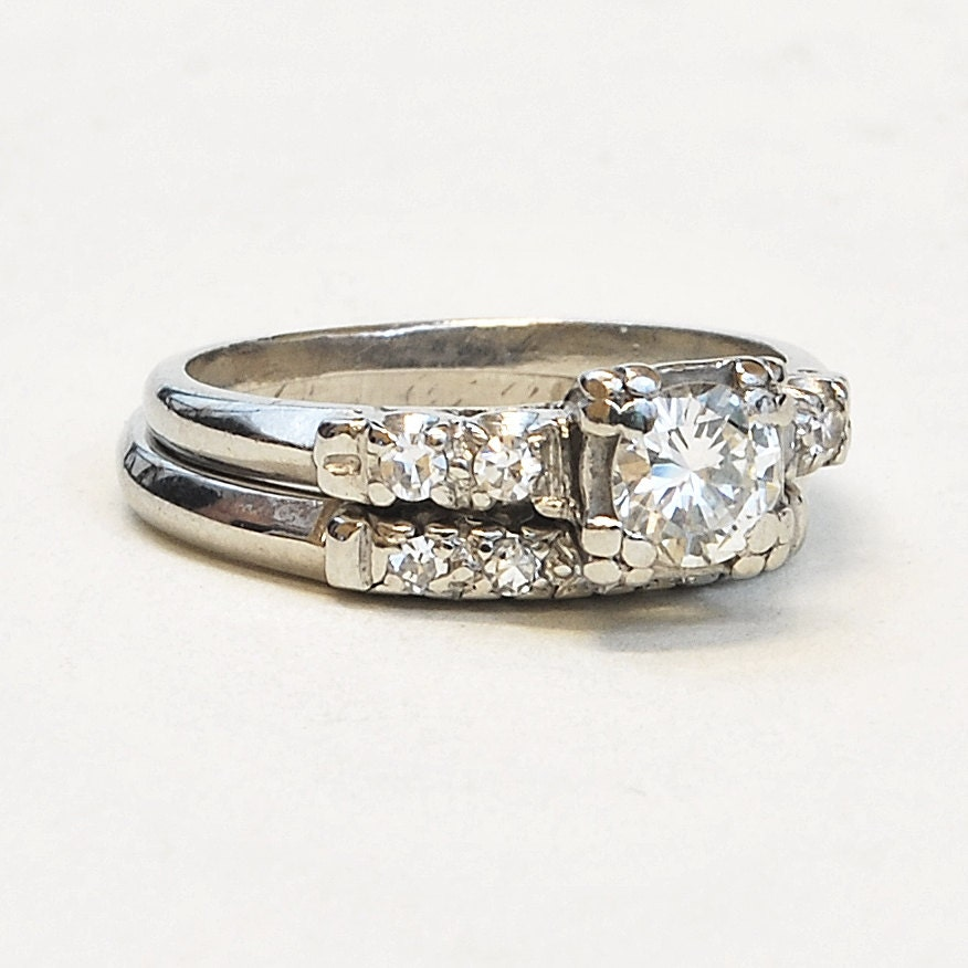 Vintage Wedding Ring Set Platinum by SITFineJewelry on Etsy