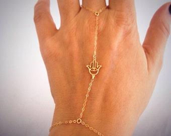 14k Gold Hamsa Hand Chain