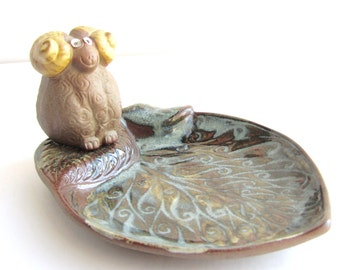Mid Century Modern Pottery Craft Aries Ram Dish