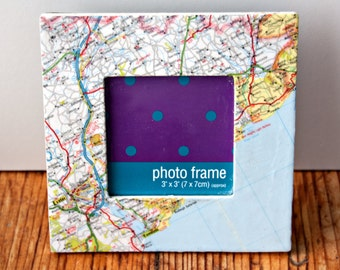 Upcycled Map Devon, Exeter and Exmouth Square Photo Frame