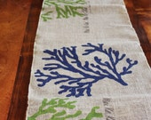 "Hawaiian Vintage Chic Burlap Table Runner - ""Coral"""