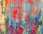 """Large Original Abstract Acrylic Painting on Canvas, Blue Wall Art by Sarah Ettinger, Size 24"""" x 30"""""""