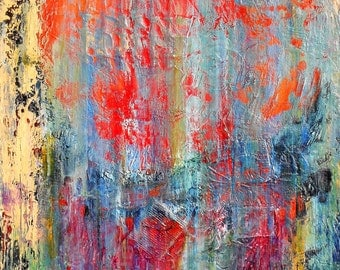 "Large Original Abstract Acrylic Painting on Canvas, Blue Wall Art by Sarah Ettinger, Size 24"" x 30"""
