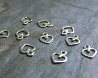 pkg of (10) Tiny 6x4.5mm Sterling Silver Heart Charms