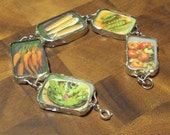 Wear Your Veggies Collection: Assorted Veggie Bracelet- made with Recycled Seed Catalogs & Stained Glass!