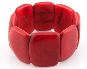 Tagua Seed Bracelet / Tagua Jewelry / Tagua Bracelet / Statement Bracelet / Tagua Nut / Red Bracelet / Seed Jewelry / Fair Trade Bracelet