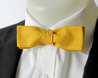 Skinny bowtie - mustard patterned   - choice of fittings