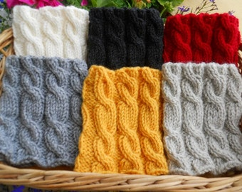 Knitted  Boot Cuffs - Ivory Gray Beige  Red Black Yellow cable knit Boot Cuffs  Leg Warmers  Boot Toppers