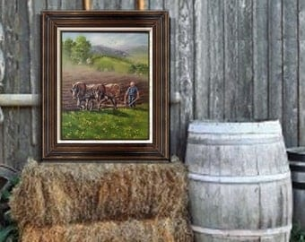 Spring Plowing, Original oil painting by Linda Maravich, 16 x 20 frame included, farm art, rustic farmhouse art, country living