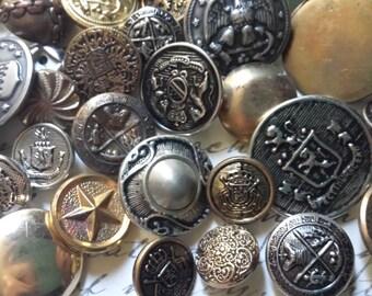 20 Vintage Metal Buttons | Grab Bag Lot