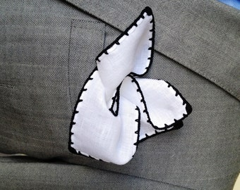 Handmade Linen Pocket Square Black