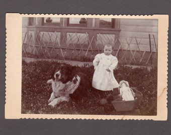 Outdoor Cabinet Card of a Little Boy, His Toys and His Huge Dog